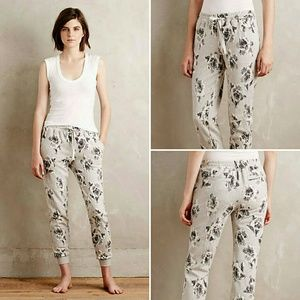 Anthropologie Graybloom Floral Joggers